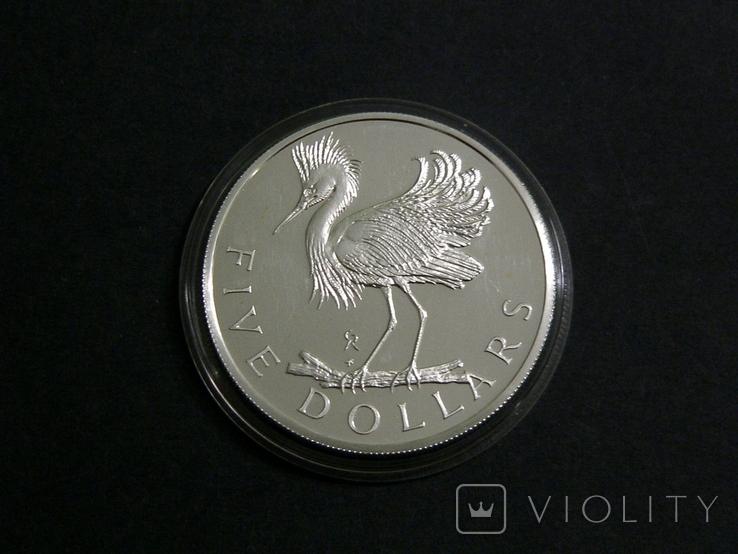 Британские Виргинские Острова 5 долларов 1979 - Белая Цапля., фото №2