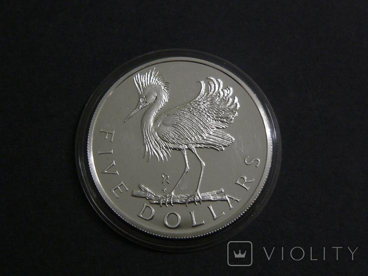 Британские Виргинские Острова 5 долларов 1979 - Белая Цапля., фото №3