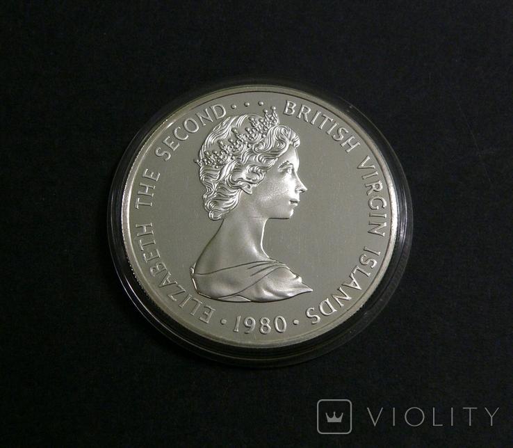 Британские Виргинские Острова, 5, 1980 - Большая Голубая Цапля. ПТИЦЫ - серебро,, фото №4