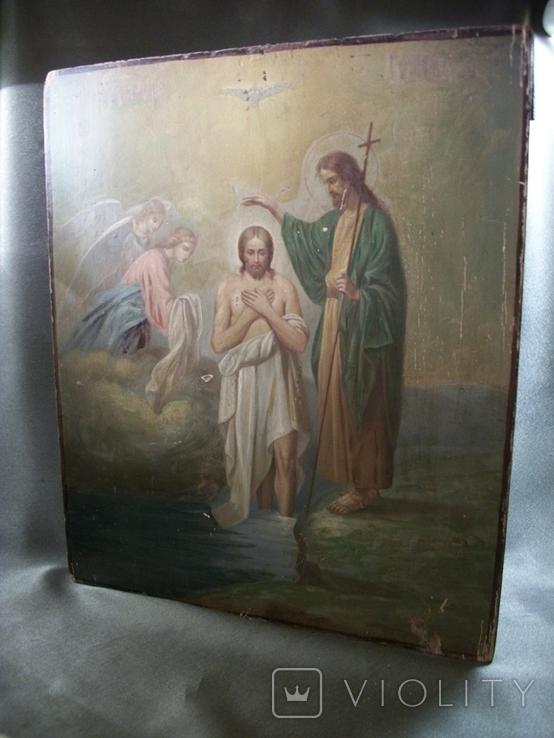 21Я18 Икона Крещение Господне. Дерево, письмо, фото №11