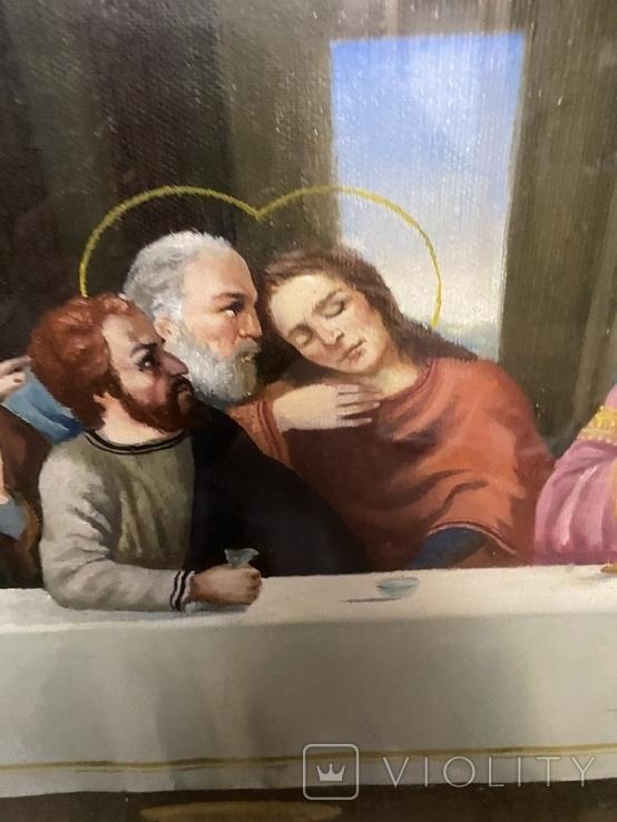 Большая икона на холсте Тайная вечеря 100х55 см, фото №6