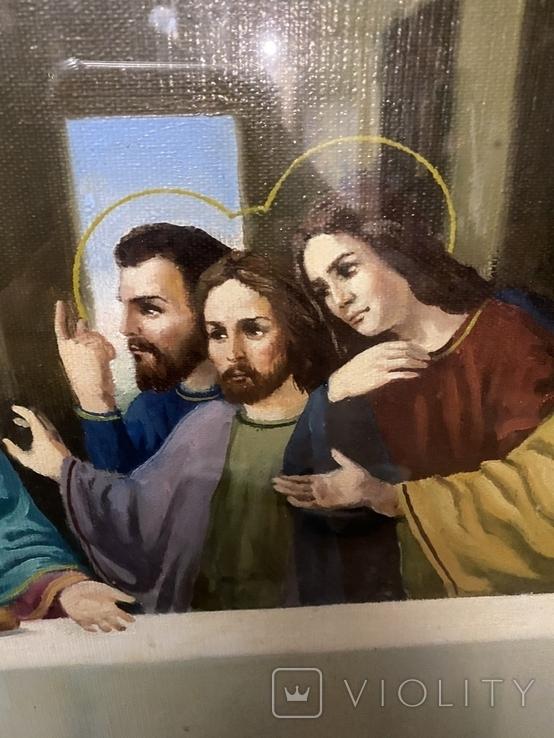 Большая икона на холсте Тайная вечеря 100х55 см, фото №8