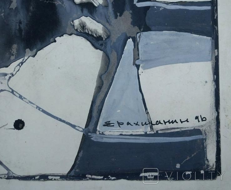 """Одесса,Е.Рахманин""""Абстрактная композиция"""", б.акрил, 58*76см в раме, 1996г, фото №12"""