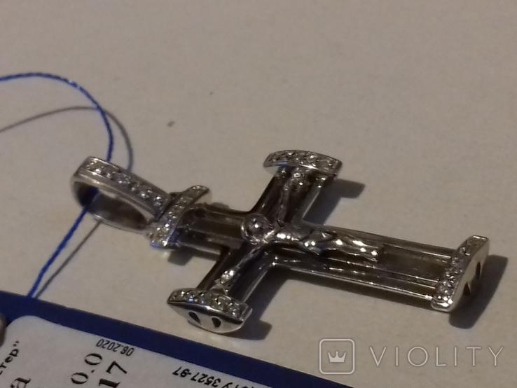 Крестик серебро с цирконием,925пр., фото №5