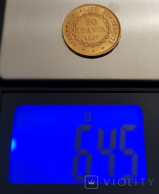 20 франков 1877 год, Франция, золото 6,45 грамм 900, фото №5