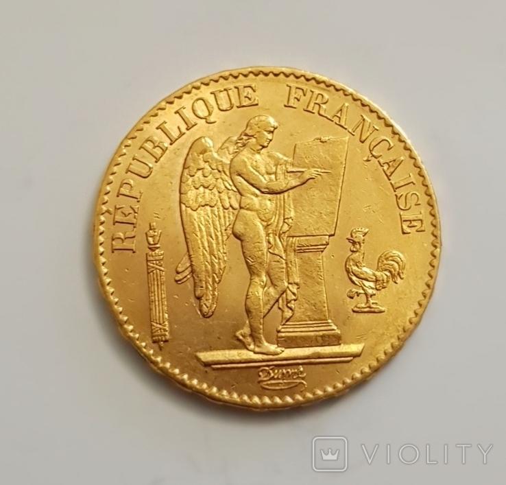 20 франков 1877 год, Франция, золото 6,45 грамм 900, фото №2