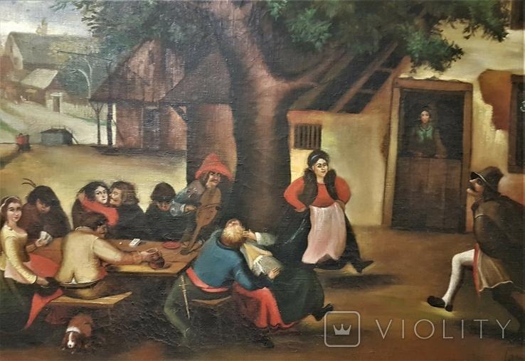 Картина, жанровая сцена .Праздник .подпись .115х75 см, фото №3