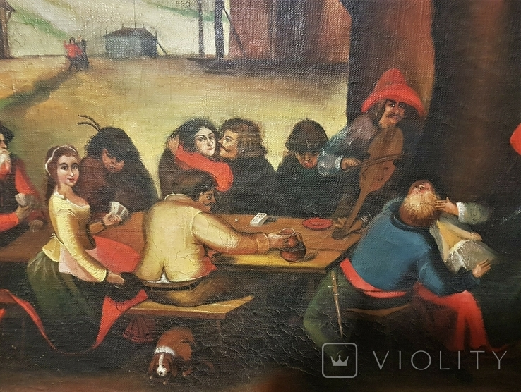 Картина, жанровая сцена .Праздник .подпись .115х75 см, фото №4