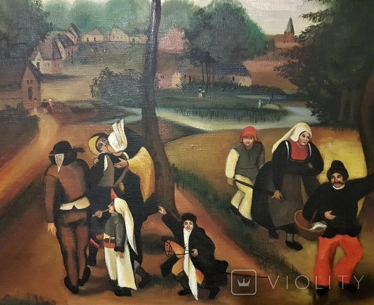Картина жанровая сцена XX век. Подпись. 115х75 см, фото №7