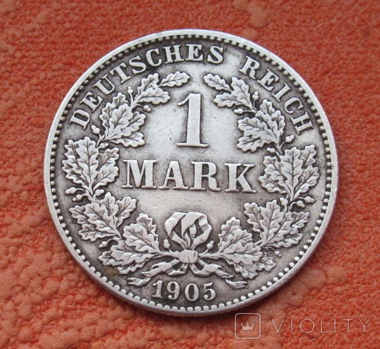 1 марка 1905 г. (G), Германия, серебро, фото №2