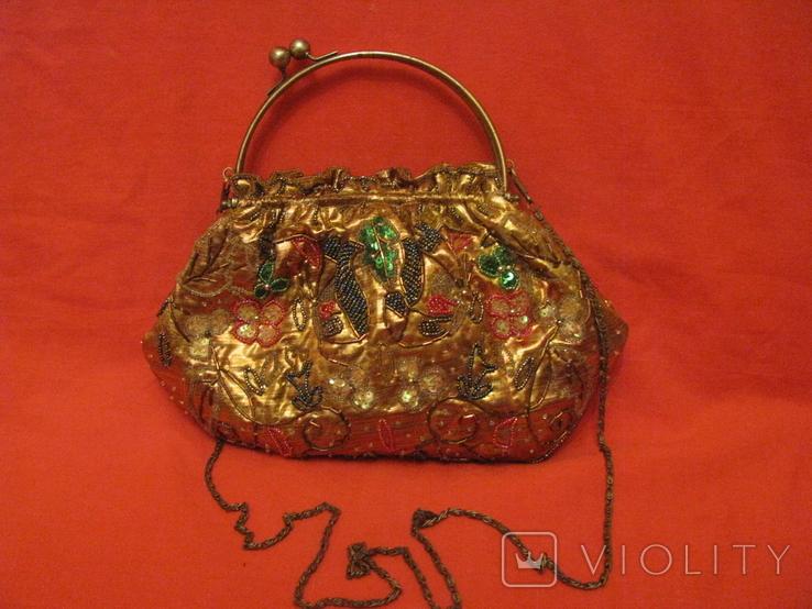 Нарядная сумочка - редекюль - парча - бисер., фото №2