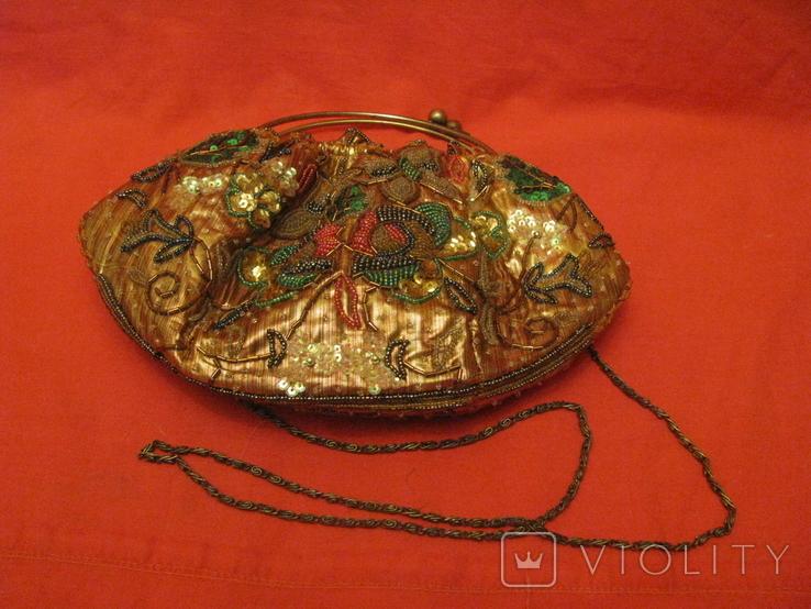 Нарядная сумочка - редекюль - парча - бисер., фото №8