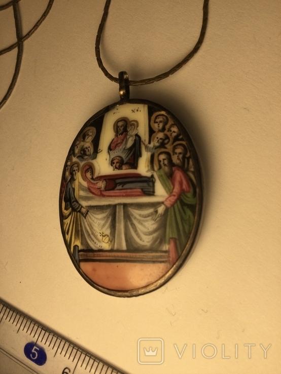 Икона Финифть Панагия Успение Богородицы 19 век, клеймо, фото №2