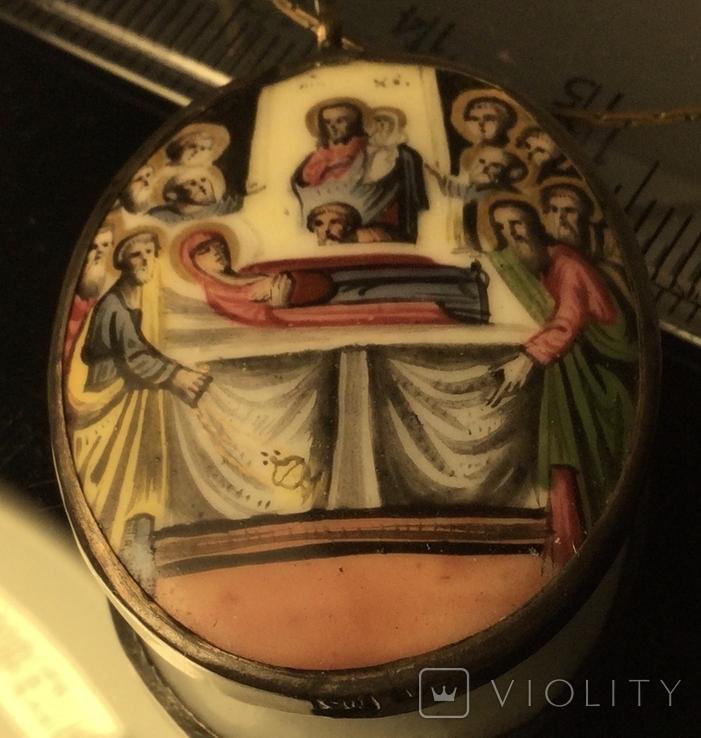 Икона Финифть Панагия Успение Богородицы 19 век, клеймо, фото №5