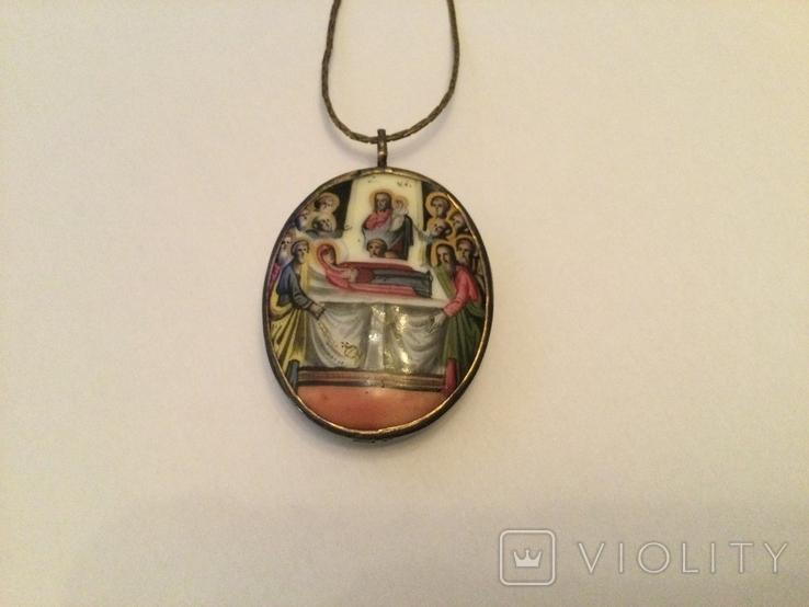 Икона Финифть Панагия Успение Богородицы 19 век, клеймо, фото №8