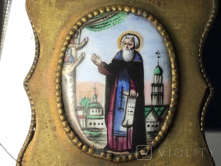 Икона Финифть Панагия 19 век Антоний Печерский, фото №3