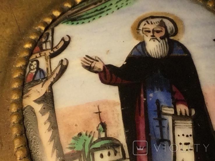 Икона Финифть Панагия 19 век Антоний Печерский, фото №6
