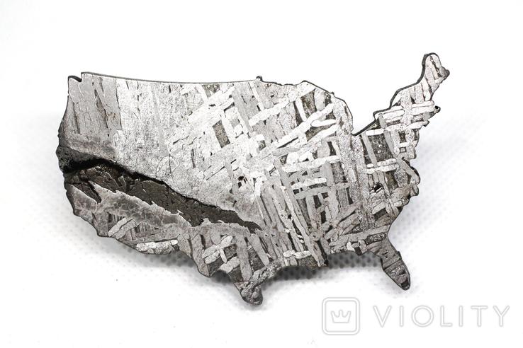 Залізний метеорит Aletai, карта США USA, 108,6 грам, із сертифікатом автентичності, фото №5