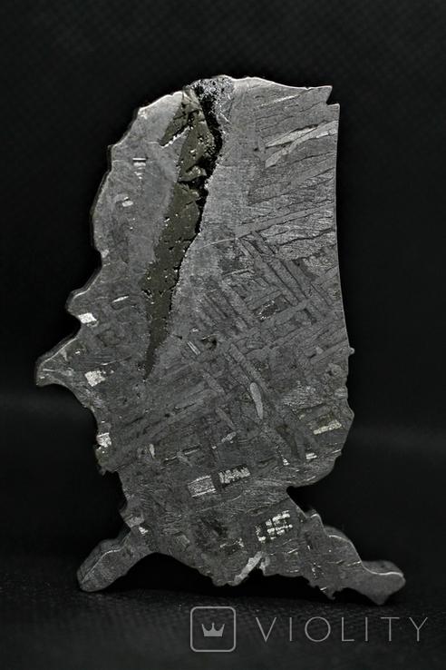 Залізний метеорит Aletai, карта США USA, 108,6 грам, із сертифікатом автентичності, фото №8