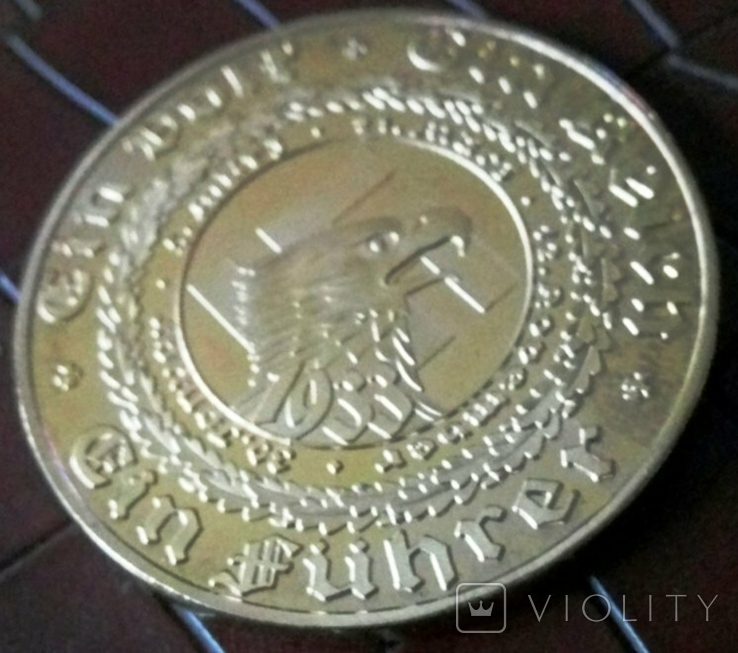 Медаль 1933 року Німеччина. Копія пробної. Позолота 999, фото №3