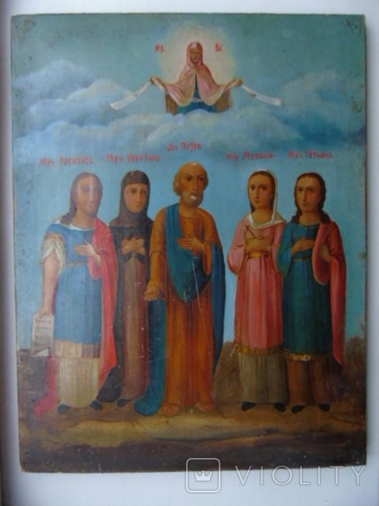 Петр , Татьяна , Мелания, Харитина , Василиса. Большая семейная икона, фото №2