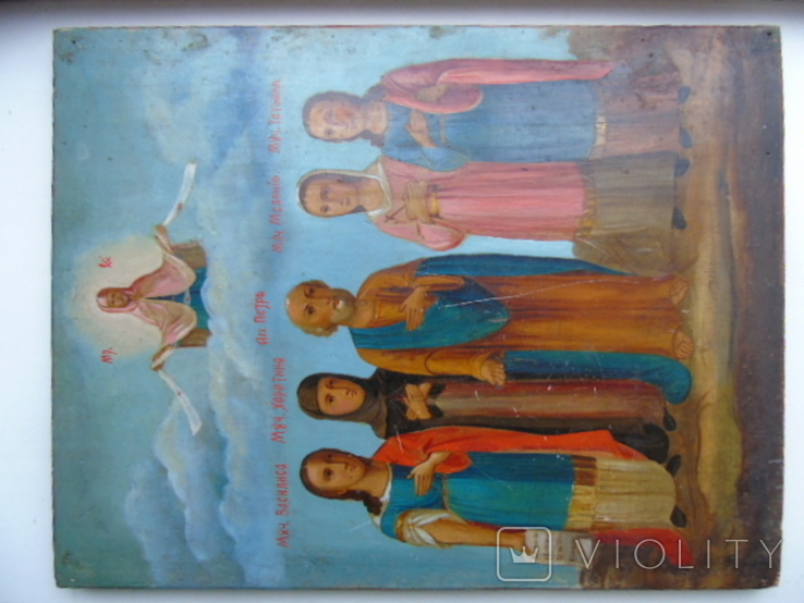 Петр , Татьяна , Мелания, Харитина , Василиса. Большая семейная икона, фото №3