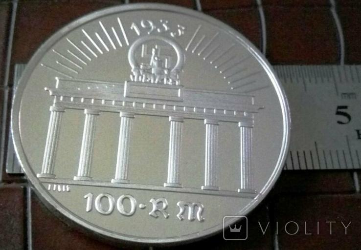 100 рейхсмарок  1933 року Німеччина.Копія пробної. . /посрібнення 999/, фото №2