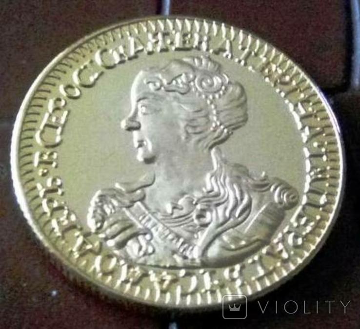 2 рублі 1726 року Московія - копія золотої, не магнітна, позолота 999, фото №2