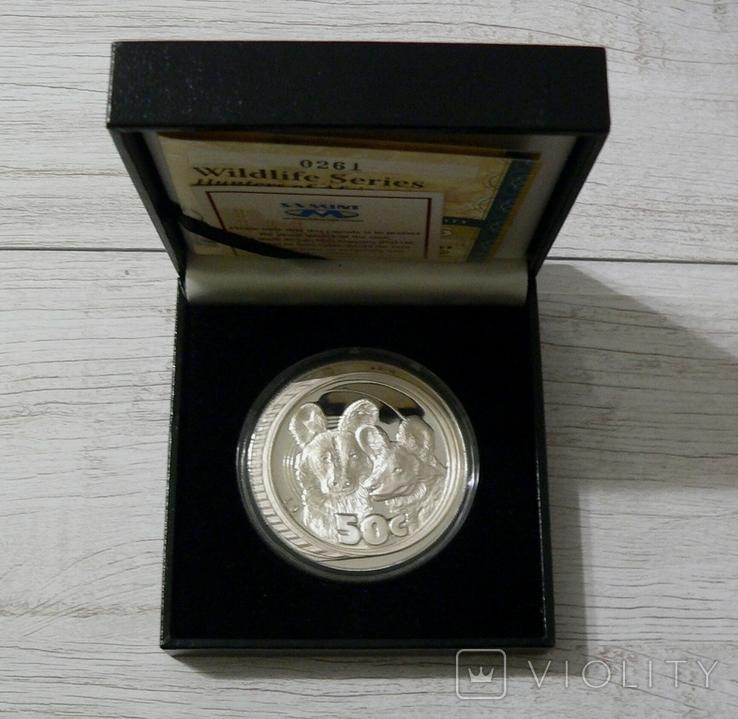 Южная Африка. ДИКАЯ ПРИРОДА - ГИЕНЫ - серебро 76,25 грамм - полный комплект, РЕДКАЯ, фото №3