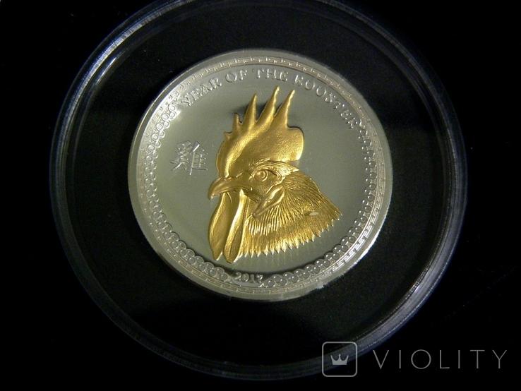 Год Петуха - Высокий Рельеф - серебро 999 позолота -  тираж 500 шт. РЕДКАЯ, фото №2