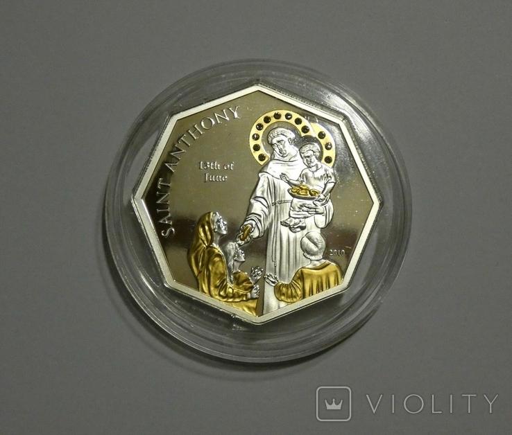 Святой Антоний - серебро, позолота, кристаллы Сваровски, фото №4