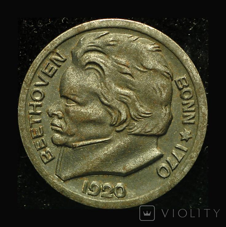 Германия Бонн 10 пфеннигов 1920 Бетховен, фото №2