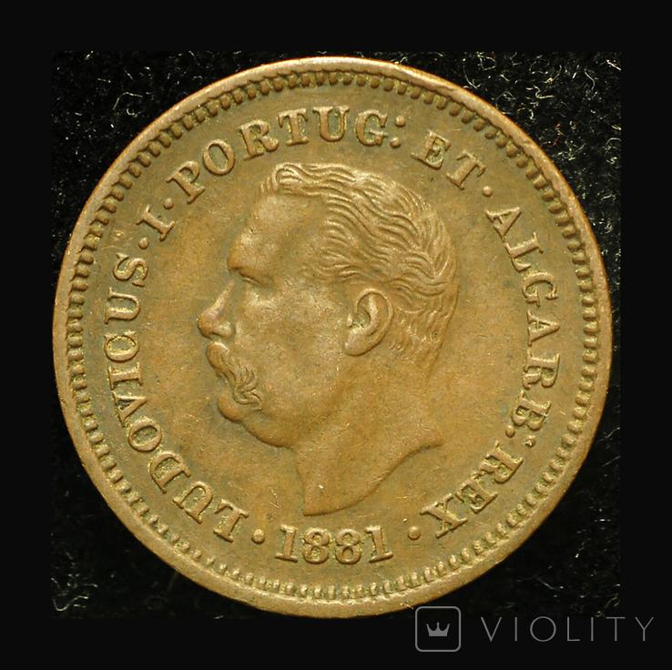 Португальская Индия 1/8 таньги 1881, фото №2