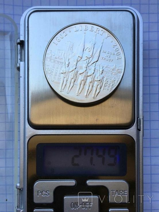 1 доллар США 2002г. 200-летие военной академии Вест-Поинта., фото №4