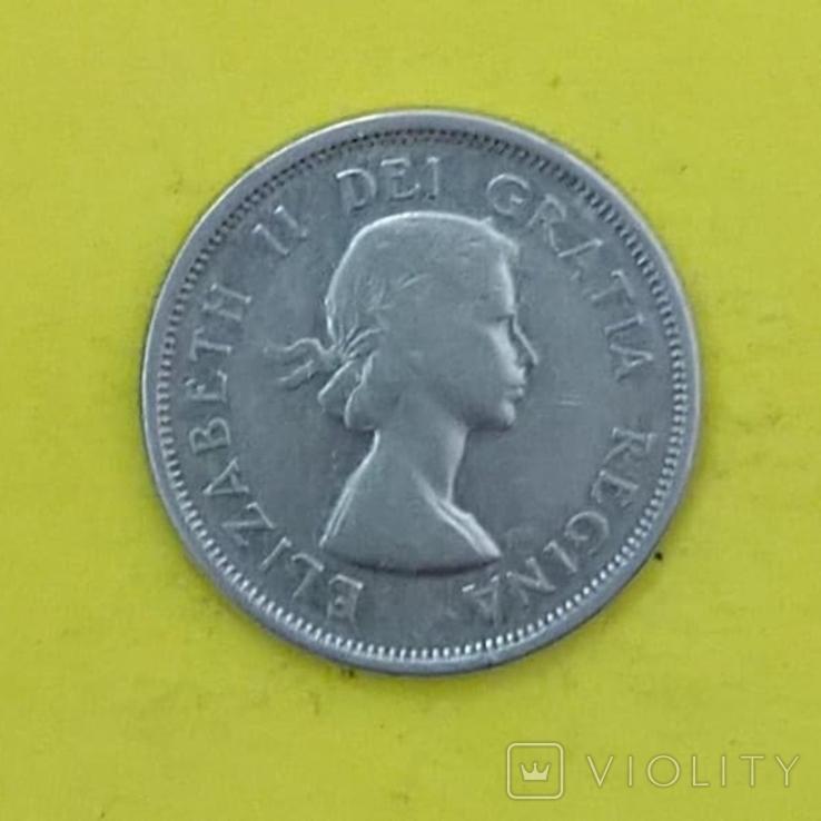 Канада 25 центов, 1963р. Срібло., фото №2