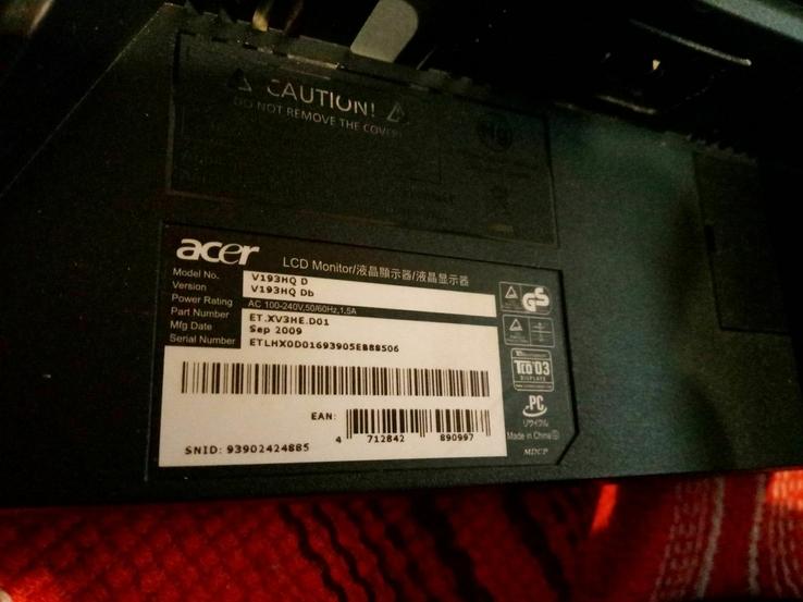 19 Монитор Acer V193HQ Wide, фото №5