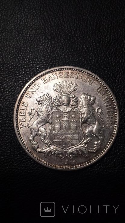 Вольный Гамбург . Три марки 1913г., фото №3