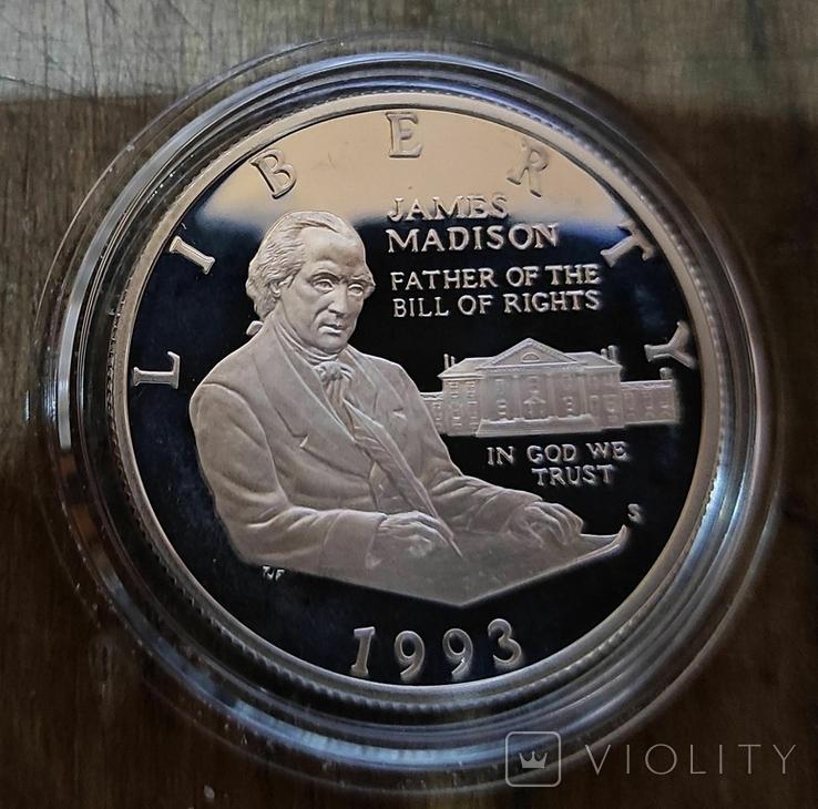 США 50 центов 1993 г Джеймс Мэдисон, билль о правах. Серебро. Пруф, фото №2