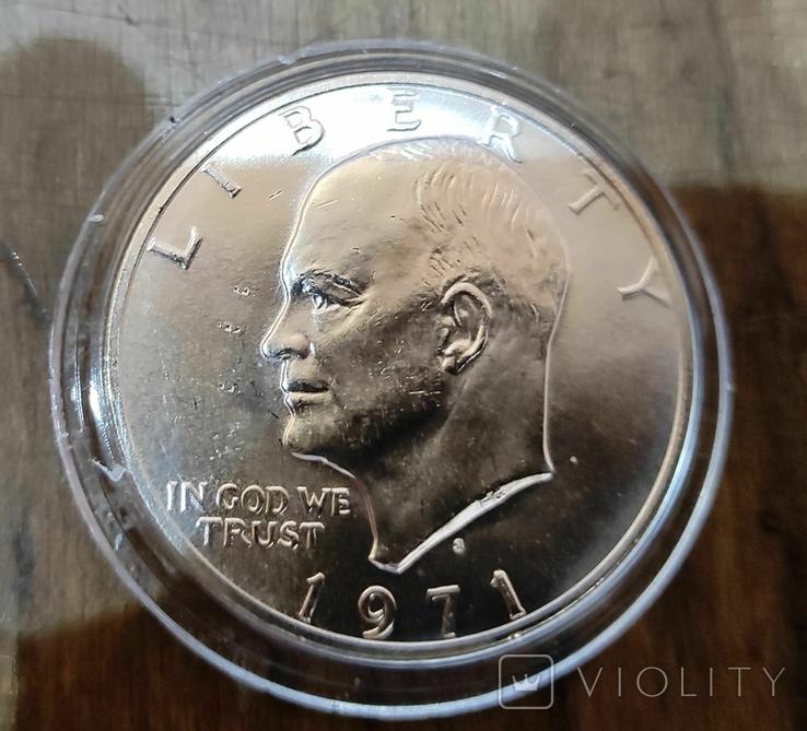 1 доллар 1971 г. Серебро, фото №2