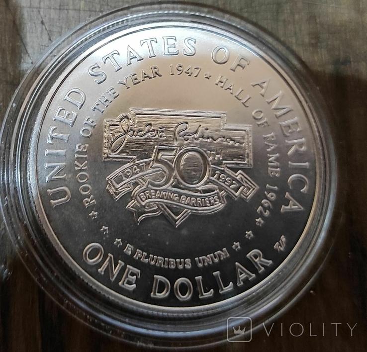 США 1 доллар 1997 г. Серебро. 50-летие Джеки Робинсона. Бейсбол., фото №3