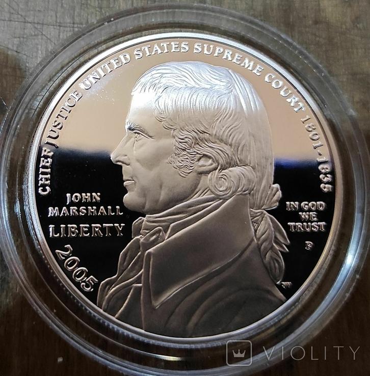США 1 доллар 2005 г. 250-летие со дня рождения Джона Маршалла. Серебро. Пруф, фото №2