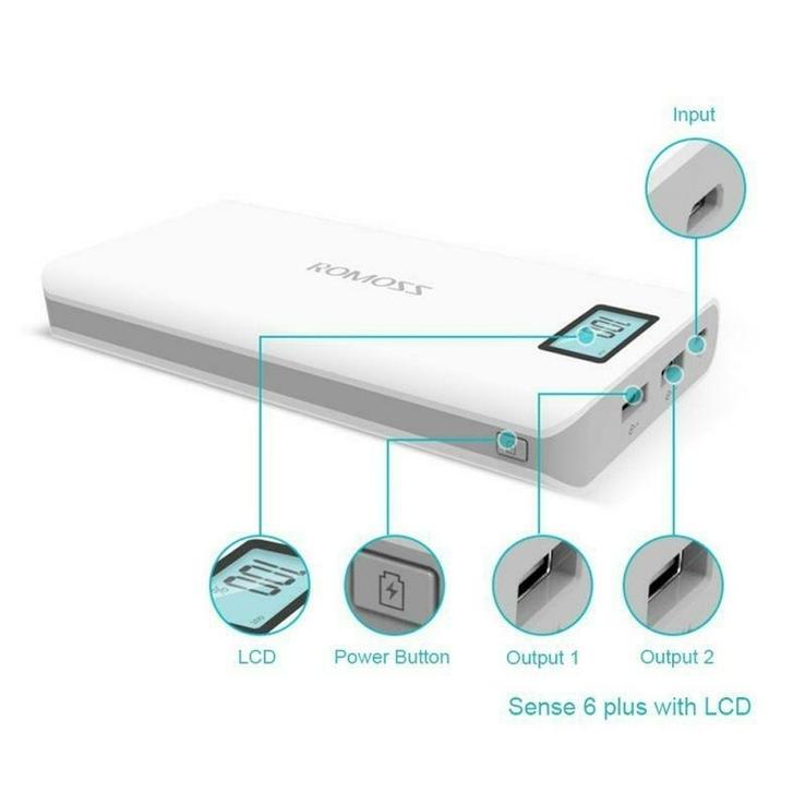 Power Bank Romoss LCD 50000mAh Sense 6 PLUS 2USB, повербанк с экраном, фото №5
