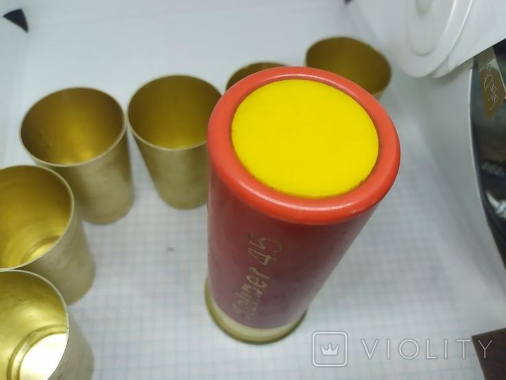 Набор рюмок в футляре в виде гильзы. Калибр 45. СССР, фото №5