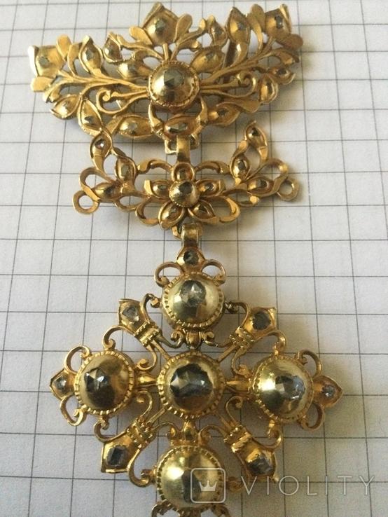 Старинное украшение, золото и алмазы, фото №2