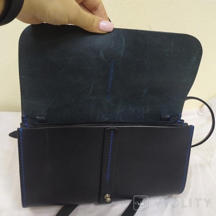 Сумочка из плотной кожи с плечевым ремешком. 24х15х7см, фото №7
