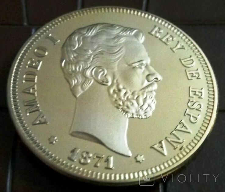 100 песет  1870 року  року Іспанія.  магнітна, точна  копія,  позолота 999, фото №2