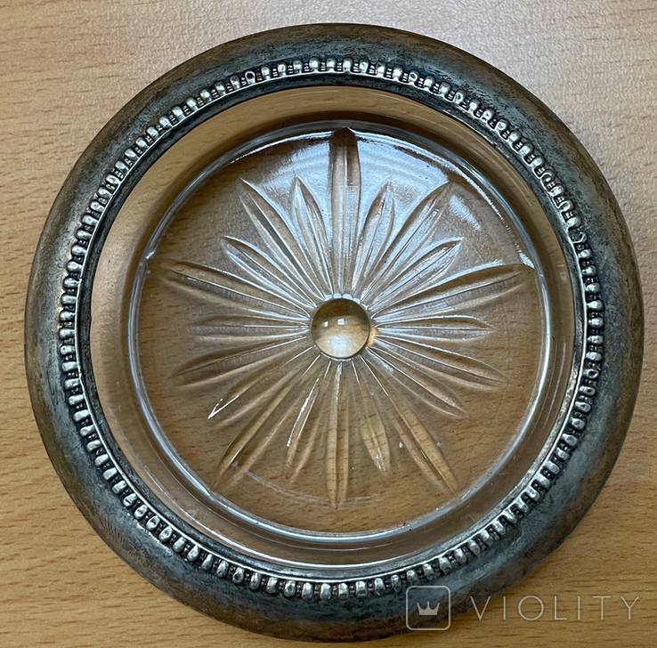 Пепельница серебро + стекло, фото №3