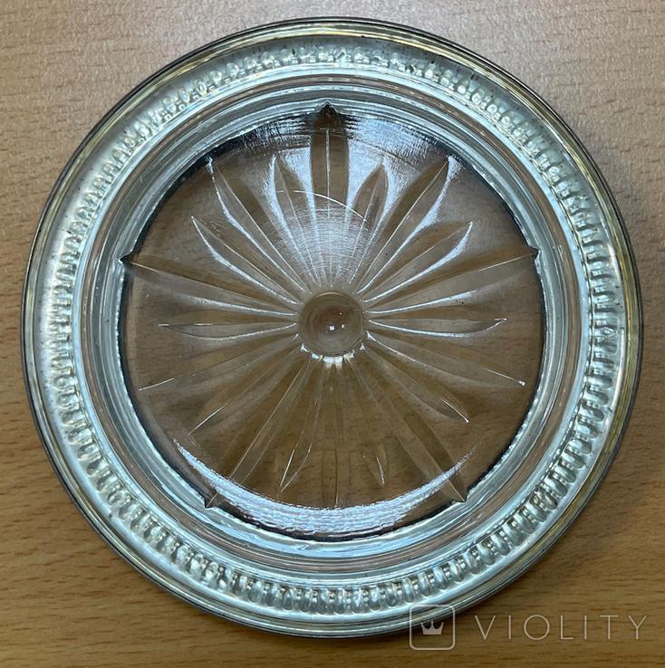 Пепельница серебро + стекло, фото №4