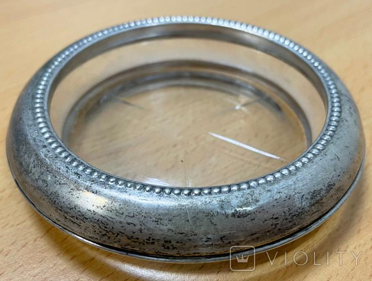 Серебряная пепельница со вставкой из стекла, фото №2