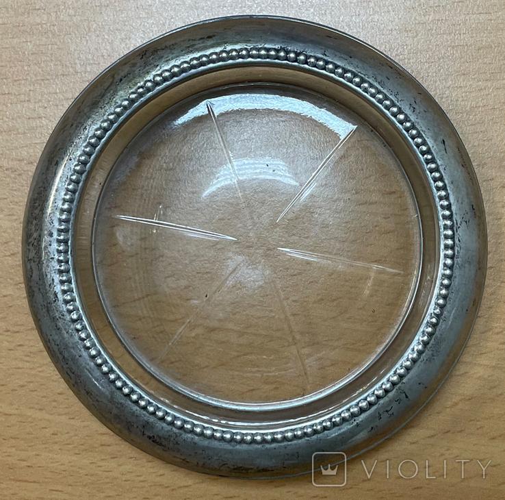 Серебряная пепельница со вставкой из стекла, фото №3